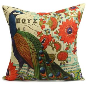 Wholesale-Comfortable Cotton Linen Cover 45cm *45cm 3d 1 Side Printing Colorful Peacock Feather Decorative Throw Pillow Cover Pillowcase on Sale