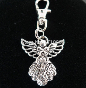 Wholesale New Hot Fashion Vintage Silver Alloy Angel Charm Keychain Gifts Key Ring Fit DIY Key Chains Accessories Jewelry Holiday Gift D391
