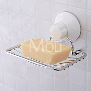 Wholesale New Design Suction Cup Wall Mounted Soap Dish Stainless Steel Soap Basket Sucker Shower Soap Holder Bathroom Accessories
