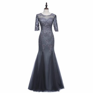 Wholesale 3 Sleeve Gray Satin and Tulle Mermaid Mother of the Bride Dress With Lace Appliques Zip Back Women Banquet Gown