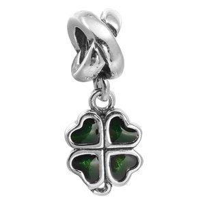 Wholesale pandora leaf clover resale online - Four Leaf Clover Charm Dark Green Enamel Sterling Silver Beads Fit Pandora Charms Bracelet Authentic DIY Fashion Jewelry