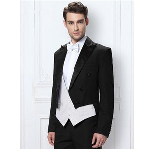 Men's Wedding Dress Coat Tails Tuxedo Black 3 Piece Suits Grooms man Custom (coat + trousers + vest)