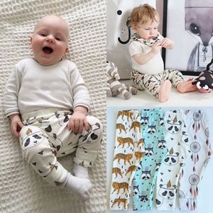 Wholesale Baby Leggings Pants Infants Cartoon Animals Geometry Feather Trousers Kids Cotton PP Harem Pants For Autumn Clothing Free DHL