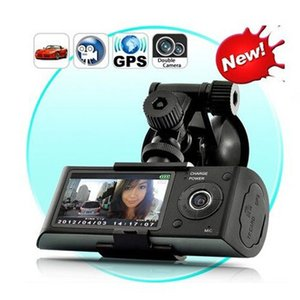"Wholesale vision black carcam tachograph Dual Camera Car DVR 2.7"" TFT LCD Screen Car Camera With GPS and 3D G-Sensor"