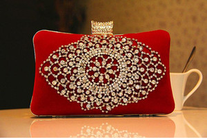 Fashion Ladies Bridal Hand Bags Crystal Rhinestone Designer Red Black Flowers Stain Metal Evening Clutch Bag Shoulder Makeup Kit Box Purse