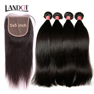 Grade 9A Brazilian Peruvian Malaysian Indian Virgin Human Hair Weaves 3 Bundles With Lace Closures 5x5inch Straight Cambodian Mink Remy Hair