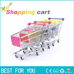 Wholesale Novelty Cute Cart Mobile Phone Holder delicate Pen Holder Mini Supermarket office Handcart Shopping Utility Cart Phone Holder