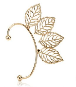 Wholesale gold leaves for sale - Group buy Clip On Earrings Screw Princess Cut Silver Rose Gold Plated Big Leaves Crystal Clip Earrings Pierced Ears Cuffing Clip On Earrings