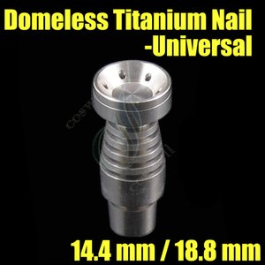Wholesale Universal Domeless Titanium Nail mm mm Dual Function GR2 Wax Oil hookah smoking glass bubbler water pipes bong bongs ash dab rigs