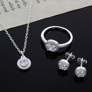Wholesale wedding settings resale online - 2015 new design Sterling Silver CZ Diamond Necklace Ring Earrings Set Fashion Jewelry wedding gift for woman