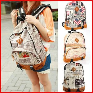 Wholesale New Fashion Vintage Fashion Girls Stundents Canvas Backpack Newspaper Map Flag Design Printed Schoolbag Unisex Shoulder Bag Outdoor Rucksack