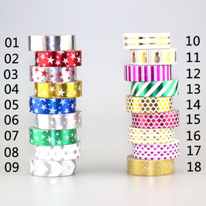 Wholesale-NEW 1X 15mm*10m Gold Foil Gilded Paper Tapes Print Scrapbooking Christmas DIY Sticky Deco Masking Japanese Washi Tape Paper Lot