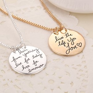 Wholesale Gold Silver Learn From Yesterday Live For Today Hope For Tomorrow Pendant Necklace