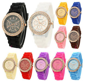 Wholesale 2015 Colorful Fashion Shadow Geneva Crystal Diamond Jelly Rubber Silicone Watch Unisex Men s Women s Quartz Candy Watches Gold wristwatch