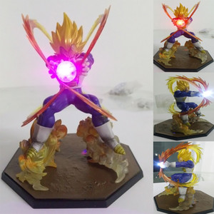 Wholesale Led Light Ball Anime Dragon Ball Z Super Saiyan Vegeta Battle State Final Flash PVC Action Figure Collectible Model Toy CM with box