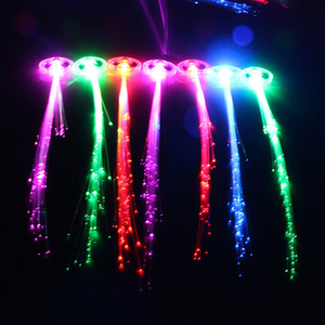 Wholesale Cool Party Blink Hair Clip Flash Light Up LED Braid Show Party Decoration Colorful Luminous Braid Optical Fiber Wire Hairpin