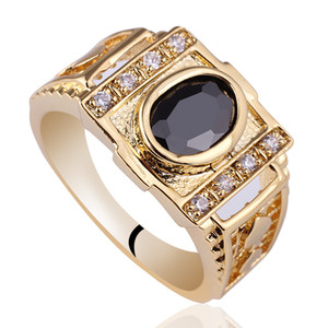 Wholesale order sterling silver resale online - Assorted Orders Pieces Men Gold Finish Sterling Silver Ring Black Onyx Mix Sizes Colors Engraving Service Customization R127