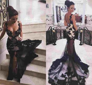 2019 New Sexy Black Illusion Mermaid Evening Dresses Spaghetti Straps Embroidery Appliques Tulle Backless Prom Dress Evening Party Gowns on Sale