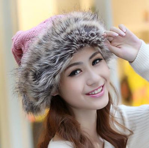 Wholesale 2019 new winter thick warm winter hat lady cute knit wool hat Korean fashion imitation rabbit fur hat