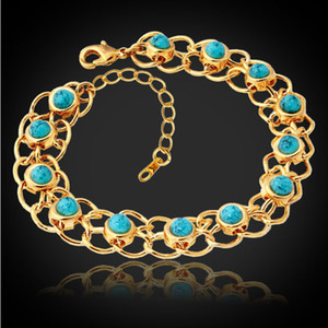 Wholesale New Fashion Turquoise Bracelets Bangles For Women K Real Gold Plated Jewelry Bangles Turkey Stone Fashion Jewelry YH5139