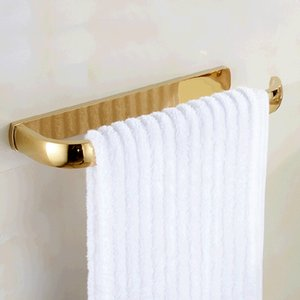 Wholesale wall mounted towel holders for sale - Group buy Bathroom And Retail Towel Rack Holder Golden Brass Wall Mounted Square Towel Hanger Towel Bar