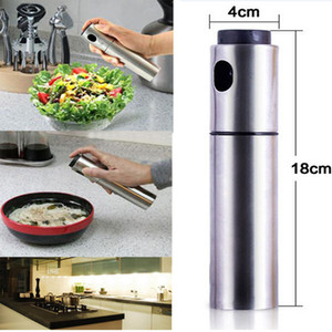 Wholesale Kitchen Cooking Utensils Accessories Silver Stainless Steel Spice Container Olive Oil Vinegar Sprayer Spraying Bottle Cooking Tool HH7