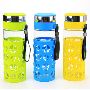 Wholesale blue glass water bottles resale online - Creative Portable Glass Water Bottle ML Creative Water Bottle my Bottle Cups Health Bottle for Travel Cup Blue Green Yellow