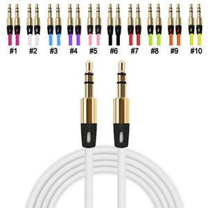 Wholesale shielded headphone cable resale online - Cheap male to male Auxiliary cord portable TPE round colorful headphone jack port Aux cable For Samsung smartphone MP4 CD players