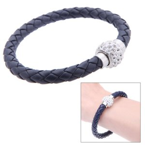 Wholesale Nice Leather Bracelets Charms Men Women Shiny Crystal Bracelet Wrap Wristband Magnetic Clasp Single Circle Bangle