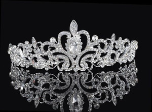 Wholesale Shining Beaded Crystals Wedding Crowns 2016 Bridal Crystal Veil Tiara Crown Headband Hair Accessories Party Wedding Tiara