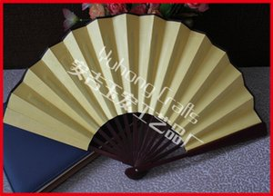 Wholesale Men Folding Hand Fans Chinese Style Donated Fabric Bamboo Fans Simple Atmospheric Single Side Pure Color Fan