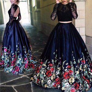 Wholesale Gorgeous Long Sleeve Illusion Lace Backless Evening Dresses Ball Print Two Pieces 2018 Sexy Pageant Party Prom Dresses Gowns Robe De Soiree