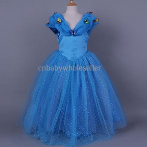 Wholesale Cinderella Fashion Children Clothing Popular Blue Lace Girls Princess Dress Butterfly Sequins V Neck Kids Clothes Costumes GD50310