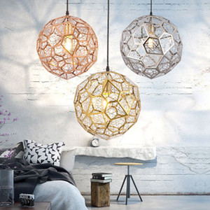 Wholesale Modern Copper Gold Silver Etch Web Pendant Light art Pendant Lamp for Living Room Stainless Steel Diamond Polygon hang lamp