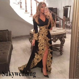 Elegant Black Evening Dresses with Gold Lace Applique Long Sleeves Sexy Dubai Prom Formal Dress V-neck Side Split Saudi Arabic Pageant Gowns on Sale