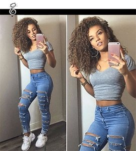 Wholesale Women Hole Designer Jeans Skinny High Waist Blue Ladies Pencil Pants Streetwear Fashion Womens Clothing