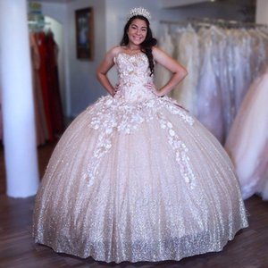 Wholesale Sparkle Sweet Dresses Sweetheart Neck Sleeveless Ball Gown Prom Gown Flowers Lace Applique Beads Quinceanera Dresses With Big Bow