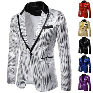 2020 Luxury Wedding Groom Men Tuxedo Suit Bling Sequins Party Coat Blazer Gentleman Jacket Tailcoat Stage Prom Dress Suit Blazer