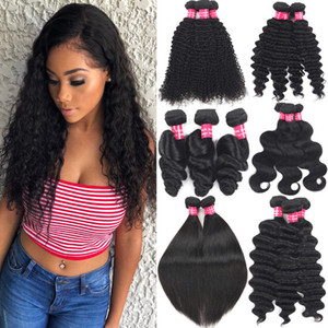 9A Brazilian Virgin Hair Bundles Body Wave Loose Wave Deep Wave Kinky Curly Remy Hair Wefts Malaysian Peruvian Human Hair Weave Extensions