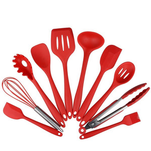 Wholesale red kitchen tools set resale online - 10Pcs set Silicone Heat Resistant Kitchen Cooking Utensils Non Stick Baking Tool Red