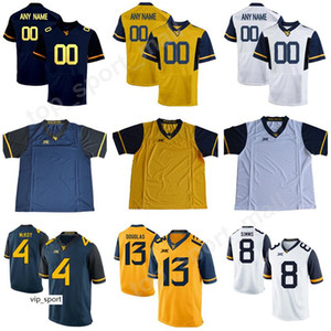 Wholesale West Virginia Mountaineers Kennedy McKoy Jersey College Rasul Douglas Marcus Simms Evan Staley Football Make Custom Personalized
