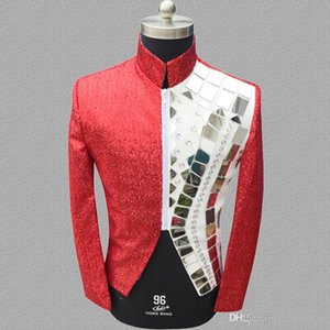 Wholesale sequins blazer men suits designs jacket mens stage costumes for singers clothes dance star style dress punk rock red splice