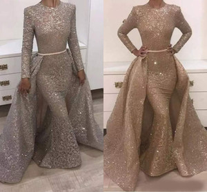 2018 Mermaid Evening Dresses Jewel Long Sleeve Unique Design Evening Gowns Lace With Sequins Beads Crystals Formal Evening Dresses