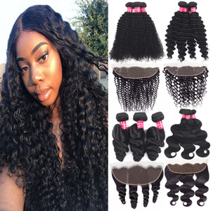 Wholesale Lace Frontal Closure With Bundles Brazilian Cheap Human Hair Bundles With Closure Loose Wave Hair Extensions With x4 Lace Frontal Closure