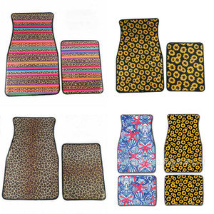 Universal Car Floor Mats Leopard Print Foot Carpets 2pcs Per Suit Anti Skidding Multi Colors 31dy F1 on Sale