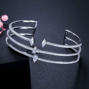 Wholesale New Fashion Women Bracelets Bangles for Party Wedding K White Gold Plated CZ Bracelet Bangle for Bride Nice Gift