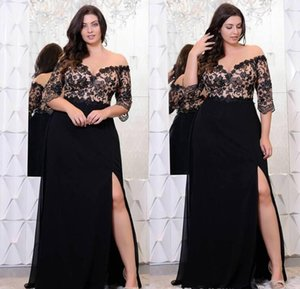 2019 new Black Lace Plus Size Prom Dresses With Half Sleeves Off The Shoulder V-Neck Split Side Evening Gowns A-Line Chiffon Formal Dress on Sale