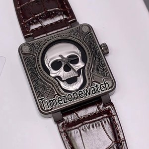 New Instruments BR01-92-S-394 500 Automatic Mens Watch Burn Tattoo Carved Steel Case Silver Skull Dial Leather Watches Timezonewatch F04