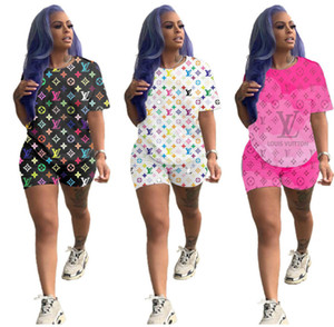 Wholesale 3 colors Women Letter Print Tracksuits Hooded T shirt Top And Shorts Set Fashion Sports Suit Piece Set Summer Clothes AA9076