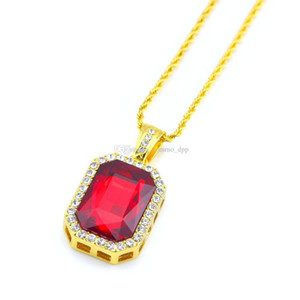 zafiro azul colgante oro blanco al por mayor-Hip hop Jewelry Square Ruby sapphire Red Blue Green Black White gems crystal pendant Necklace inch Gold Chain For Men Fashion Jewelry
